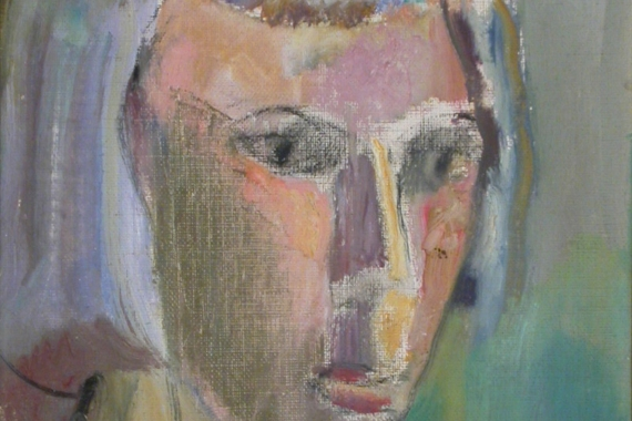 Rae Perlin. Head (1954). Oil on canvas board. 26.8 x 21.8 cm. Memorial University of Newfoundland Collection, The Rooms.