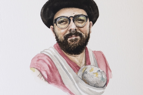 """Michelle MacKinnon, """"...and on June 15 2020, Sa'ke'j Sunny started his earth walk and I became a dad."""", 2020, watercolour on paper, 22 x 14 cm. Courtesy of the artist."""