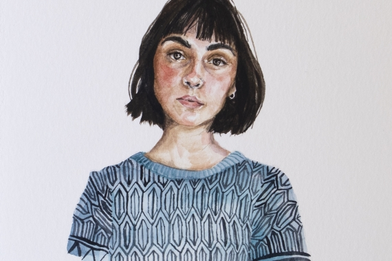 """Michelle MacKinnon, """"...and on July 4 2020, I got a sunburn."""", 2020, watercolour on paper, 22 x 14 cm. Courtesy of the artist."""