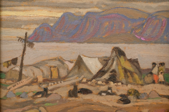 Alexander Young (A.Y.) Jackson. Eskimo Settlement, Pangnirtung. 1927. Oil on wood panel. 21.3 x 26.7 cm. Judith & Norman Alix Art Gallery: Gift of the Sarnia Women's Conservation Art Association, 1956.